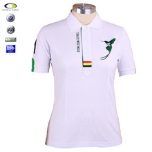 White embroidered polo collar brand t shirts