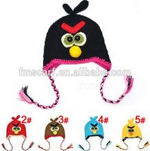 Fashion babies knitted bird wool cap baby cotton warm handmade hat