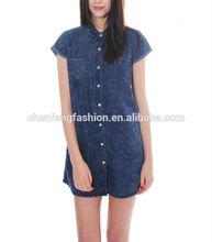 Dark wash short sleeved denim button up shirt dress