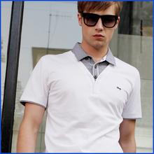 2014 new fashion style men's double collar t shirt cotton cheap polo tshirt