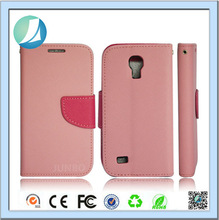 Double color leather wallet case for samsung s4 mini