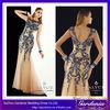 2014 New Designer Sheath Beautiful Boat Neck Zipper Back Appliqued Tulle Floor Length New Turkish Evening Dresses (AB0744)