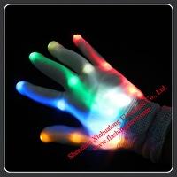 Christmas Party Gift Black or White Body Flash LED Gloves