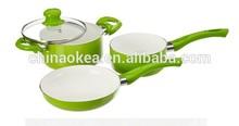 4PCS green colored ceramic cook ware