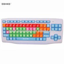 computer keyboard colored keys/coloful keyboard for kids/children