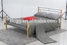 wooden post sliver metal bed frame