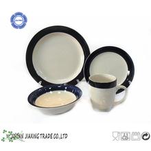 16pc handpainted black band with glazed stoneware dinnerplates