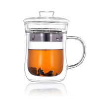 2014 new design hot sales heat resistant borosilicate pyrex double wall glass cup , double wall mug