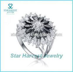 Fancy black white stone silver ring