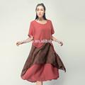 el arte de desgaste para el último diseño de lino 100 tie dye impresión de la mano de costura asimétrica túnica larga en rojo