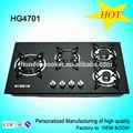 Venta al por mayor aparatos usados incorporado en la cocina de vidrio templado 5 quemador de Gas cocina / encimera de Gas / cocina de Gas HG4701