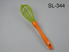 Food grade silicone coated egg whisk with plastic handle