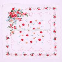 Good-looking handkerchief,flower design cheap plain handkerchief
