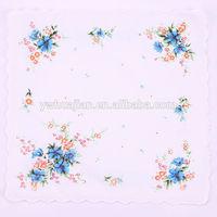 Fashion handkerchief,flower design cheap plain handkerchief