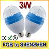 3W E27 RGB Changing Auto Rotating 3 LED Spot Light Bulb Lamp for Ballroom Party