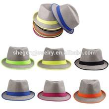 Women Men Neon Strip Straw Boho Fedora Beach Panama Hat