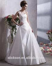 Engrossing One Shoulder Floor Length A-line Flower Wedding Dress Lace