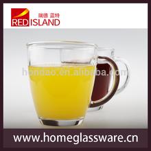 11oz transparent glass juice mug with handle