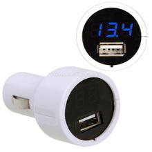 2014 Hot sales LED Display Cigarette Lighter Electric Battery Voltage Meter with 2A USB Port