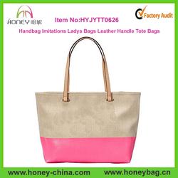 Handbag Imitations Ladys Bags Leather Handles And Canvas Tote Bags