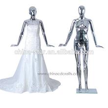 2014 hot selling fashion full body silver chroming female mannequin for wedding dress