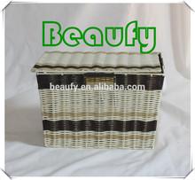 2014 Cheap White&Brown PVC Tube Woven Storage Box with Lids