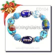 Christmas glass bead bracelet agarwood bead bracelet