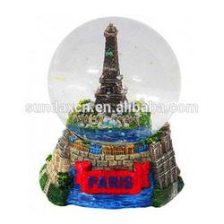 Custom Resin Paris Eiffel Tower Travel Souvenir Snow Globes