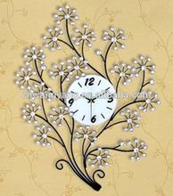 Crystal metal tree shape wall digital clock