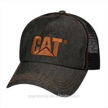 embroidery patch trucker cap Denim Trucker Adjustable Mesh Cap