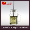 600ml glass mason jar with handle for beverage with cap and straw