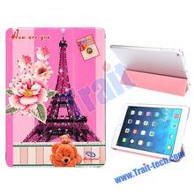 Cute design Children Slim Tri-Fold Design Flip Stand PC+Leather Cover Case for iPad Air