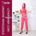 estilo campesino superior de gasa de color rosa de la muchacha de halloween disfraces sexy