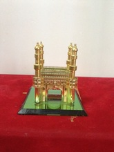 High Quality Crystal Hyderabad Charminar Mosque Model & 24k Gold Plated Metal Charminar Model for India Wedding Gift
