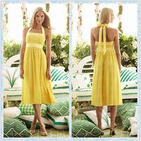 CXL1779 Halter Tea length Sweet 16 Yellow Bridesmaid Dress Teal Color Dresses