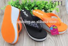 10cm high heel shoes stock wedge sandal 2014 flip flop manufacturing