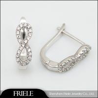 White Gold Electroplating Zircon Earrings Infinity Earrings Wholesale Jewelry