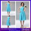 New Fashion Sample A-line One Shoulder Sleeveless Zipper Back Knee Length Chiffon Short Blue Bridesmaid Dress(BSD001)
