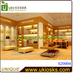 Luxury wooden shoes kiosk&hand bag display&cloth display furniture with 3d design