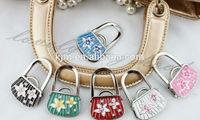 (24PCSmix color/lot) L6400flower bag+crystal shape purse handbag hook hanger holder hook bag hook