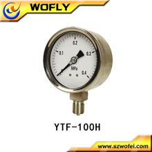 all stainless steel high temperature pressure gauge/gage