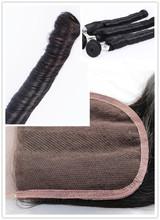 100% Fashion romance curl funmi hair lace closure bleached knots Peruvian virgin human hair silk base lace top front closure