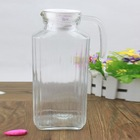 1.7L large glass milk jug, glass pitcher with plastic lid