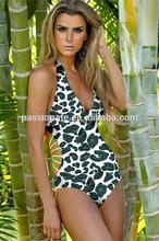 Promotion Beautiful Sexy Leopard Style Deep V Fashion Swimwear Bikini Model