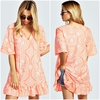 Hot selling half sleeve V neck print drop hem tunic dress women summer dress