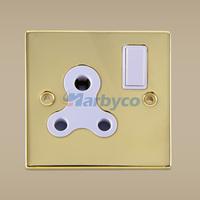 SC1501PB--Single Pole 5 Amp 1 Gang Gold Wall Switch Socket 3 Round Pins for SA India Nigeria