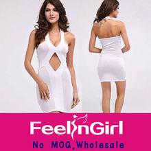 Blanc sans manches affaires industrielles mode nouvelle robe d'été 2014