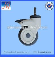75mm Medical caster, Nylon yoke caster with TPR wheel PP center, ball bearing