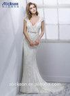 Deep V Neckline Capped Sleeve Sexy Backless Lace Korea Wedding Dress