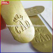 Imitation Suede Clothing Label Imitation Suede golden Embossed Label - Light Tan